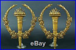 Rare Paire de grands parements 19E Bronze doré style Louis XVI torches roses N°2