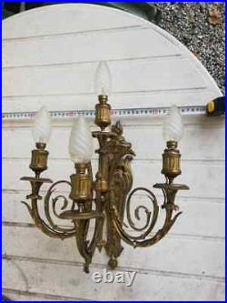 Rare Tres Ancien Paire Applique Style Louis XVI En Bronze Tete Aigle