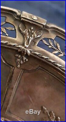 Rarissime Assiette plat coupe sur pied Argent massif minerve 19e style Louis 16