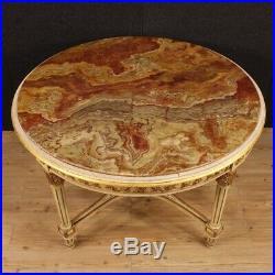 Ronde table salle à manger style ancien Louis XVI meuble en bois dessus marbre