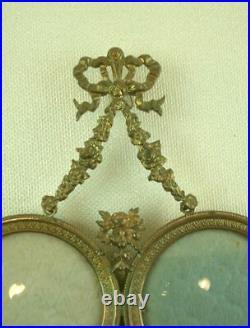 SUPERBE CADRE PORTE PHOTO DOUBLE ANCIEN EN METAL DORÉ STYLE LOUIS XVI XIXe