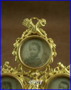 SUPERBE CADRE PORTE PHOTO MINIATURE EN METAL DORÉ 3 VUES STYLE LOUIS XVI XIXe