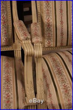 Salon 19e canapé paire de fauteuils paire de chaises style Louis 16