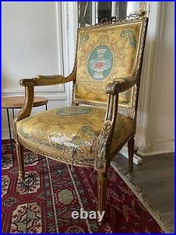 Salon Bois doré XIXe Canapé Fauteuil Style Louis XVI