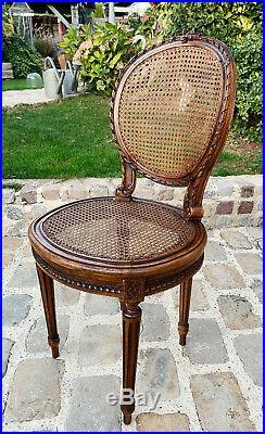 Salon D'époque Napoléon III En Bois Et Cannage De Style Louis XVI