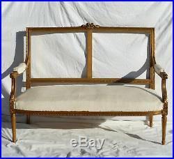 Salon De Style Louis XVI En Bois Doré 1900 Canapé Banquette Chaises ancien