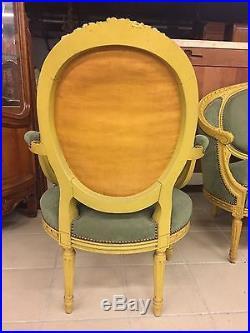 Salon bois peint 2 fauteuils 1 canapé style Louis XVI