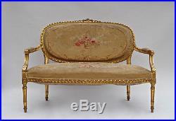 Salon de Style Louis XVI en bois doré et Tapisserie d'Aubusson, circa 1880