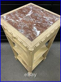 Sellette ancienne 1 tiroir / XIXème / style Louis XVI bois peint, Marbre