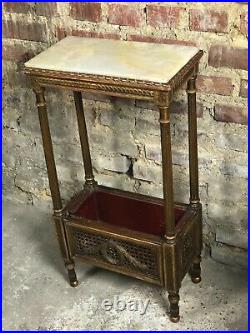 Sellette / jardinière style Louis XVI en bois et cannage doré, dessus onyx 1900
