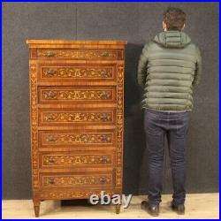 Semainier commode chiffonier meuble en bois incrusté style ancien Louis XVI