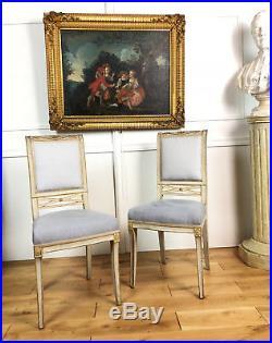 Série De 6 Chaises Anciennes En Bois Relaqué & Tissu Velours De Style Directoire