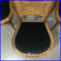 Suite de 4 chaises style Louis XVI tapissées de velours-Entièrement restaurée