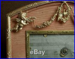 Superbe Cadre Porte Photo En Bronze Doré Style Louis XVI Decor Angelots Oiseau