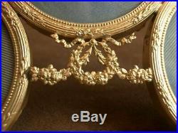 Superbe Cadre Porte Photo En Bronze Doré Style Louis XVI Triple Decor Angelots