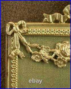 Superbe Peinture Miniature/ Porcelaine Cadre En Metal Doré Style Louis XVI