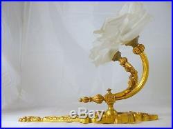 Superbe ancienne applique bronze doré 2 feux Tulipes pétale Style Louis XVI 1900