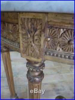Superbe ancienne console style louis 16 époque fin 19 ème en bois doré