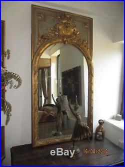 Superbe grand miroir trumeau Napoléon III style Louis XVI-145 X 75 cm