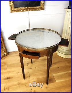Table Bouillotte Ancienne De Style Louis XVI En Bois Verni Avec Dessus Marbre