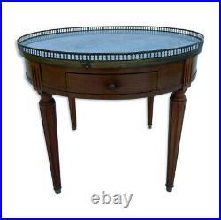 Table Bouillotte Galerie Marbre Blanc Style Louis XVI 1900 L366