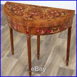 Table Console Demi-lune Style Louis XVI Table De Jeu En Bois Marqueterie