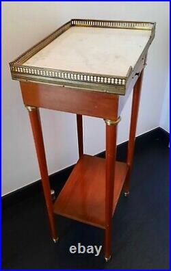 Table D'appoint Dite Volante De Style Louis XVI Dessus Marbre