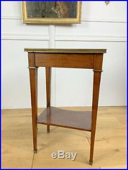 Table De Salon De Style Louis XVI Dessus Marbre Bronze Estampillé Mailfert