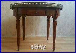 Table basse guéridon acajou plateau marbre style Louis 16 type table bouillotte
