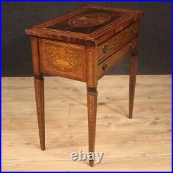 Table basse meuble en bois marqueté de salon style ancien Louis XVI 900