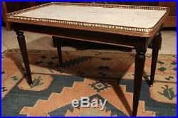 Table basse salon de style Louis 16 en acajou plateau marbre blanc