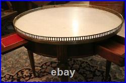 Table bouillotte basse en acajou massif plateau marbre style Louis XVI
