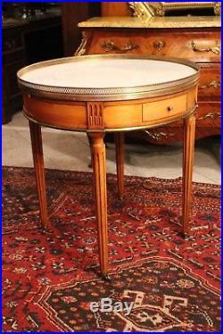 Table bouillotte guéridon acajou blond plateau marbre blanc style Louis 16