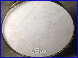 Table bouillotte / guéridon de style Louis XVI en acajou et dessus marbre 1940