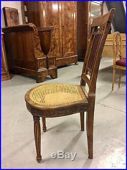 Table et six chaises de salle à manger style Louis XVI noyer 1900