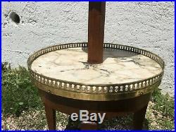 Table guéridon console sellette style Louis XVI en noyer et marbre à 2 plateaux