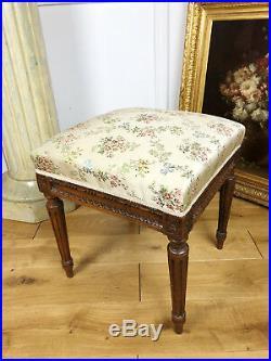 Tabouret De Salon Ancien De Style Louis XVI En Bois Et Tissu À Décor De Floral