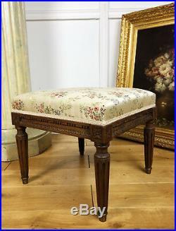 Tabouret De Salon Ancien De Style Louis XVI En Bois Et Tissu À Décor Floral