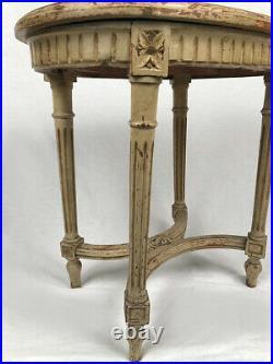 Tabouret de piano de style Louis XVI laqué gris