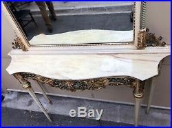Très Belle Console Et Son Miroir En Bois Peint Dessus Onyx Style Louis XVI
