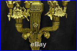 Très Grande Paire De d'Appliques De Style Louis XVI En Bronze Doré