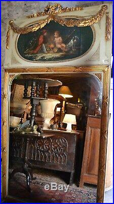 Très beau Trumeau de style Louis XVI en bois laqué XIX éme siècle