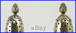 Très belle paire de salières balustre, argent massif vermeil, style louis XVI