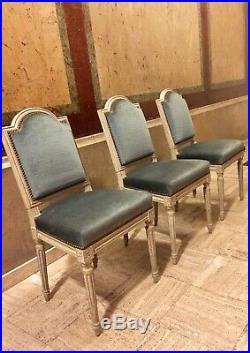 Trois Chaises Style Louis XVI Velour Bleu Ciel