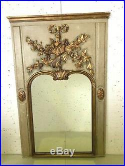 Trumeau de cheminée Style Louis XVI Bois sculpté doré XIX siècle Miroir