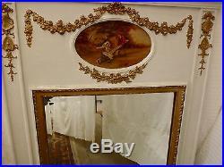 Trumeau de cheminée peint fin 19 ème miroir style Louis XVI. H 166 x110 cm