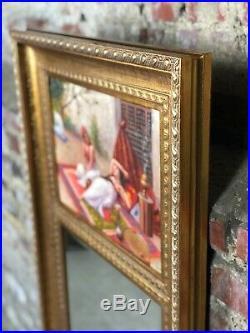 Trumeau / miroir style Louis XVI avec peinture sur toile L'Orientale signé