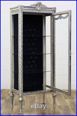 VITRINE STYLE LOUIS XVI EN HETRE MASSIF ARGENTE ARGENT BIBLIOTHEQUE 184x68x40cm