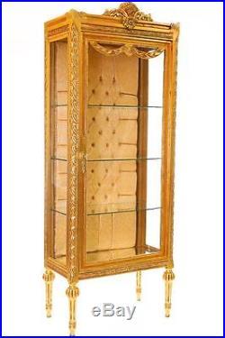 VITRINE STYLE LOUIS XVI EN HETRE MASSIF DORE BIBLIOTHEQUE 184x68x40cm