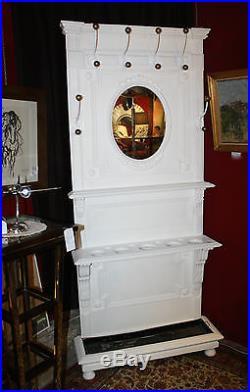 Vestiaire porte manteau style Louis XVI patiné blanc